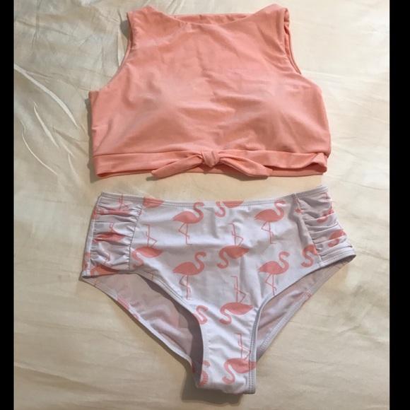 SHEIN Other - Knot Front Top With Flamingo Print Bikini - Medium